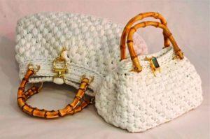 Вязаные сумки из трикотажной пряжи