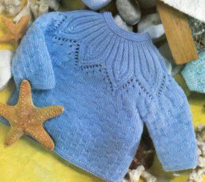 Вязаный детский голубой джемпер