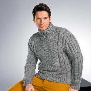 Вязаный пуловер спицами мужской