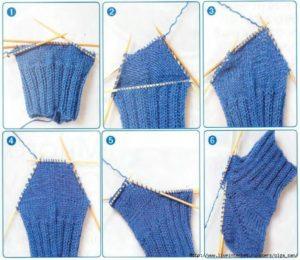 Как связать спицами «Ступенчатую» пятку на носке