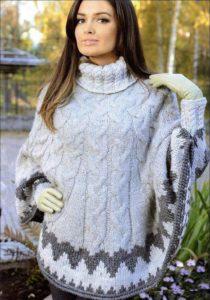 Пончо вязаное спицами