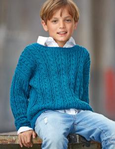 Пуловер с косами для мальчика 7 — 8 лет
